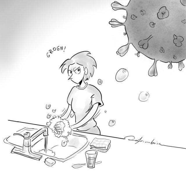 Image: Michèle se lavant les mains en gardant un oeil méfiant sur le microbe de la COVID-19)