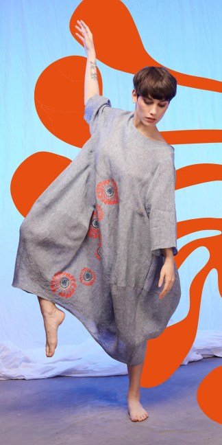 robe lin imprimée en sérigraphie