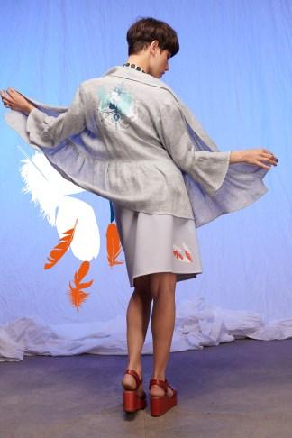 veste femme lin imprimée en sérigraphie