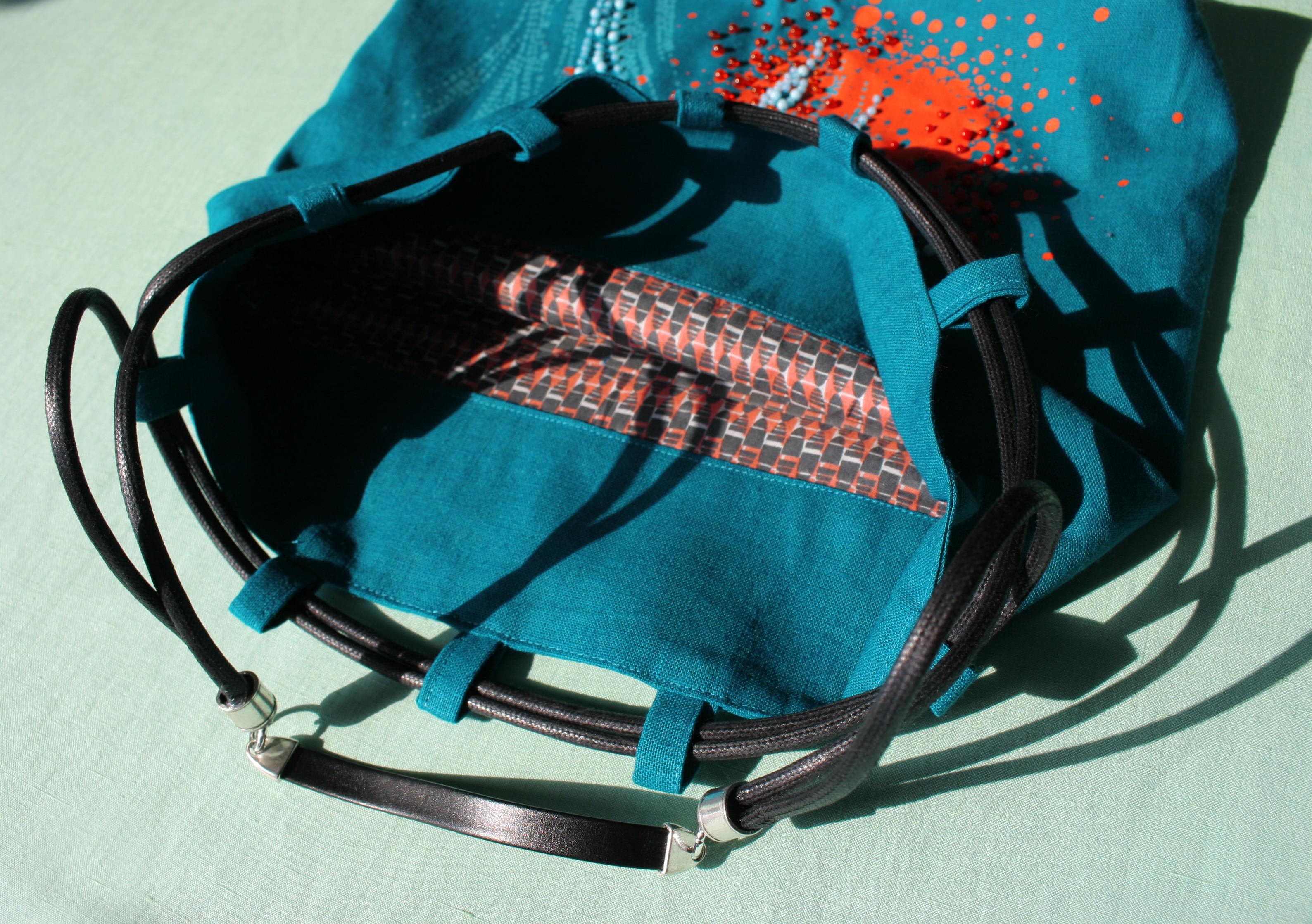 sac femme été en toile doubé avec cordons