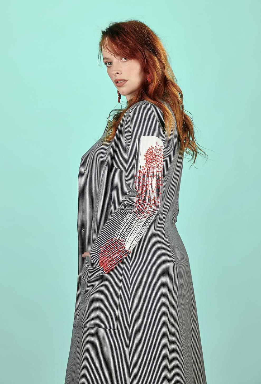 manteau femme été rayures fait main