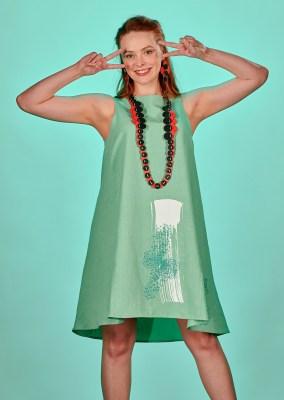 robe sans manche imprimée et brodée