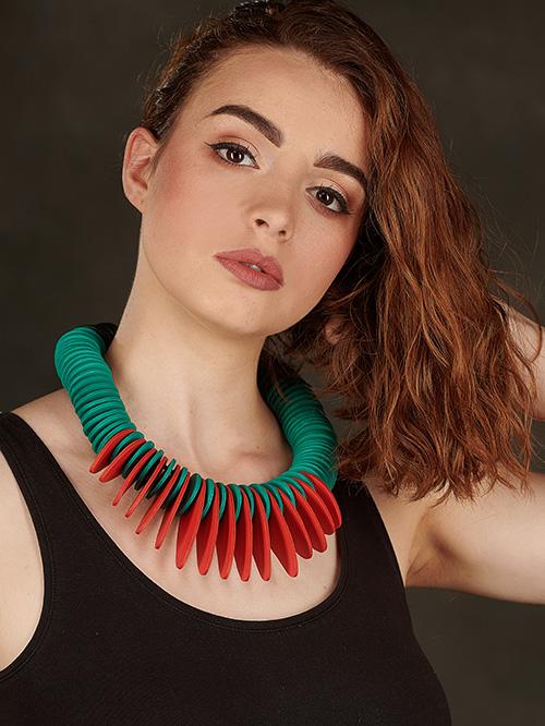 turquoise-orange-collier-cuir-michèle-forest-design