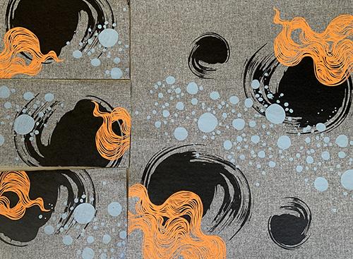 impression-sérigraphie-motifs-écologie-encres-à l'eau-atelier-michèle-forest