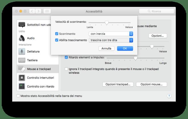 Preferenze di sistema - Accessibilità - Opzioni trackpad