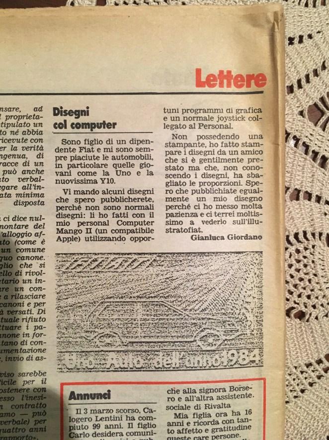 illustratofiat del 1985, pagina 40, lettere.