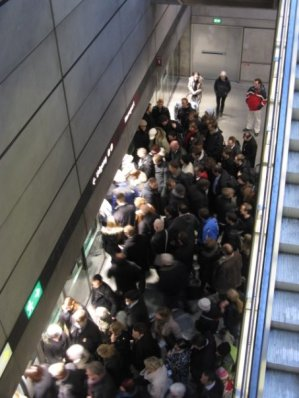 Crowded Nørreport Metro station when the Metro broke down.