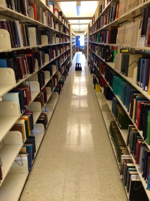 One of many endless stacks in Davis Library.