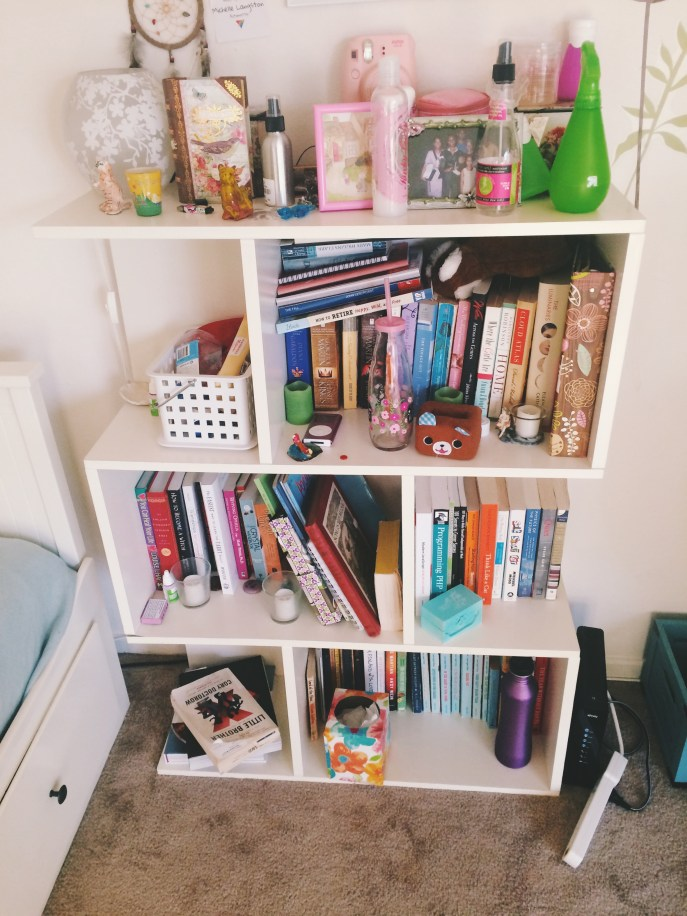 My messy bookcase/nightstand.