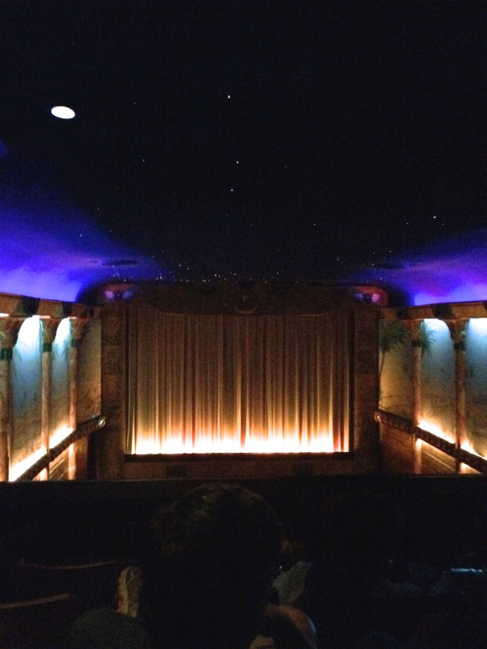 """Grand Lake Theater. Beautiful balcony seats with """"stars"""" in the ceiling."""