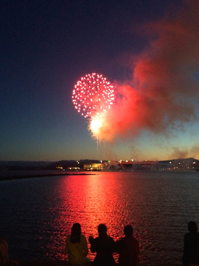 Early Independence Day Fireworks at Marina Park in Richmond, CA.