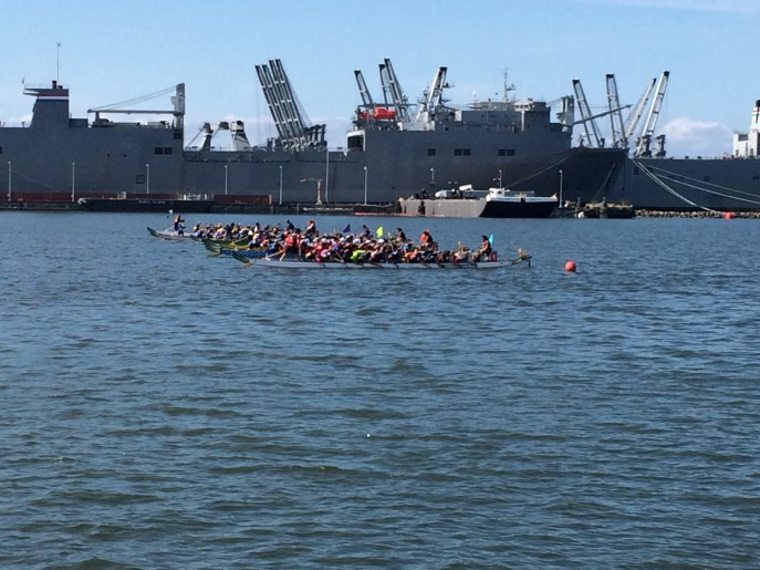 Dragon Boat sprint races at Sea Plane, Alameda Point.