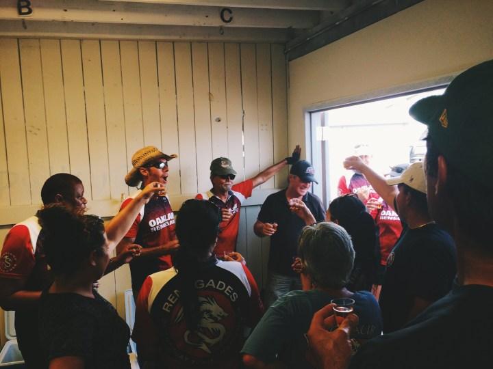 Celebrating after the Oakland Dragon Boat Festival.