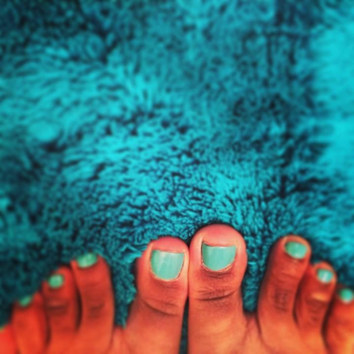 Pretty toe polish.