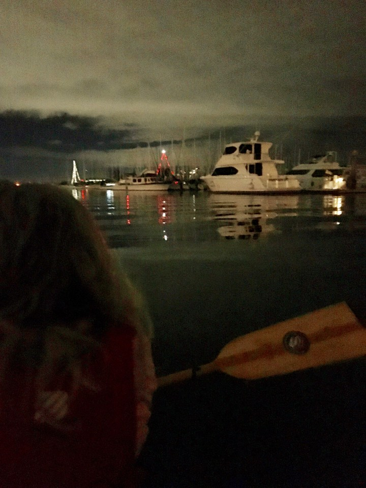 Night paddle on the Estuary. My last evening dragon boat practice of 2015.