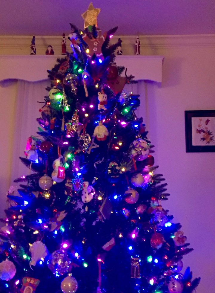 Our Christmas tree, newly-decorated!