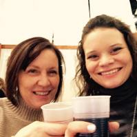 Mommy and me getting sloshed at a bridal expo, a new pastime of ours