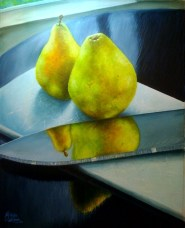 Pears & Knife Acrylic Painting Michelle East