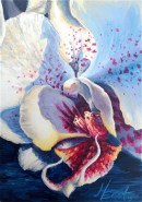 White Orchid Acrylic Painting by Michelle EAST