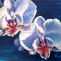 "Original 8x10"" Two White Orchids Acrylic Painting by Michelle East"