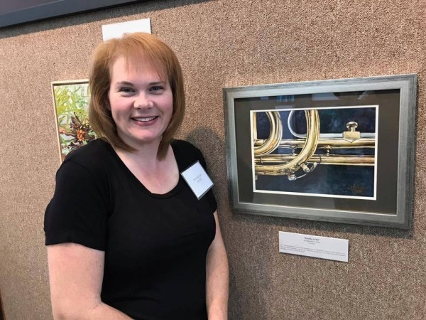 Michelle with Breathe in Me Trumpet WC Painting