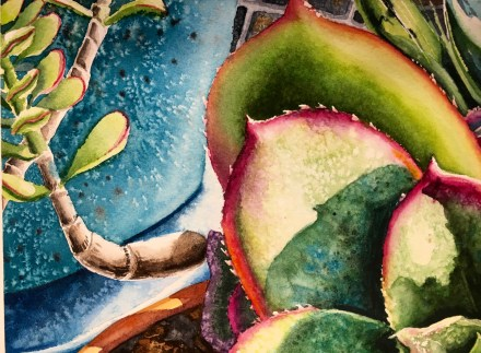Succulent on Mosaic Table Watercolor Painting by Michelle C. East