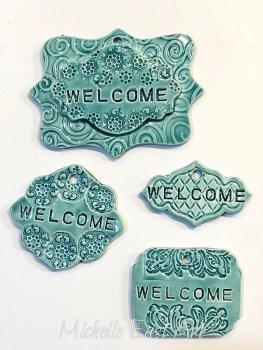 Welcome clay Garden Marker Label