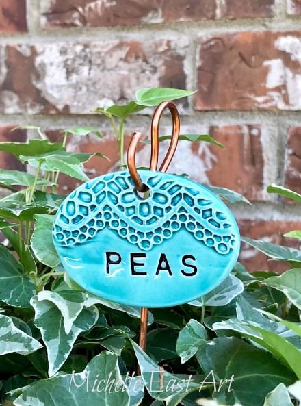 Peas clay garden marker label