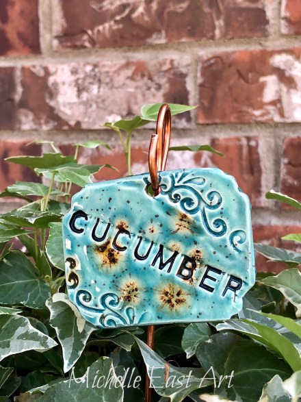 Cucumber clay vegetable garden marker label