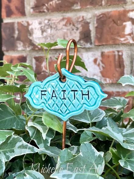 Faith clay Garden Marker