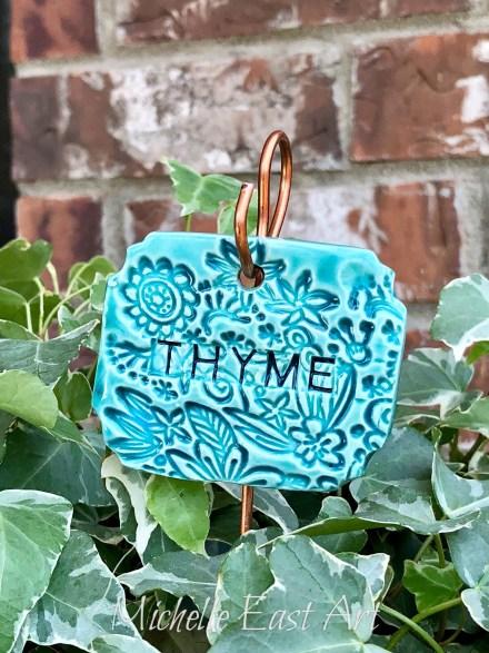 Thyme clay Herb Garden Marker LabelV