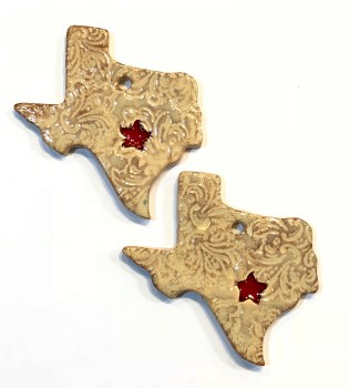 Texas clay ornament with red glass heart