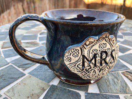 Mr and Mrs Mug Set Handmade Pottery