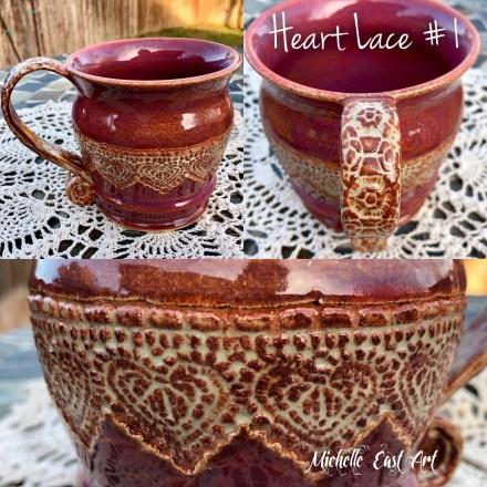 Heart Lace #1 Mug Handmade pottery