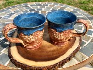 Blue Speckled Lace Mug Handmade Pottery