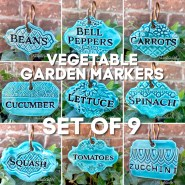 Ceramic Vegetable Garden Markers Set