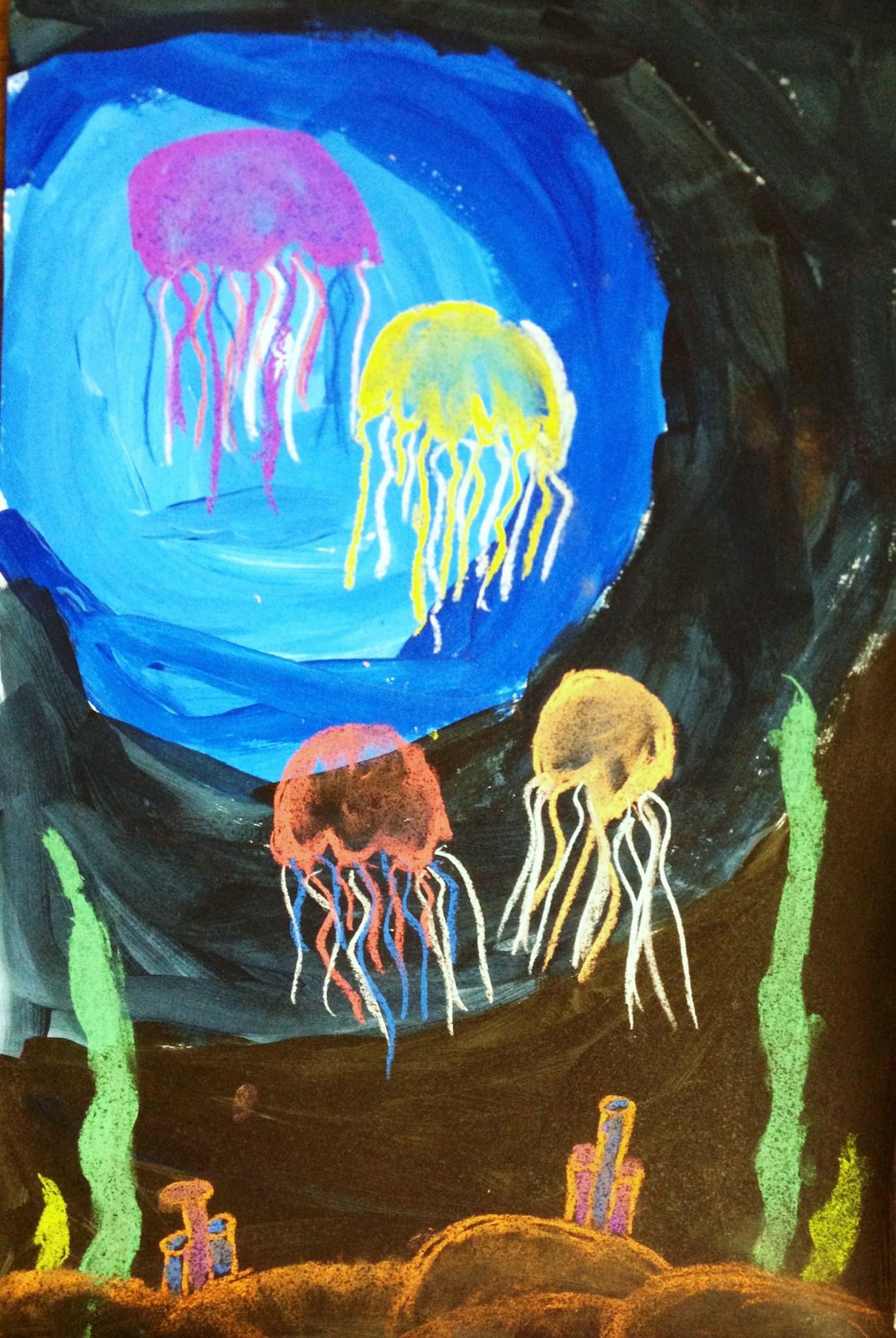 Jelly Fish Mixed Media Value Lesson