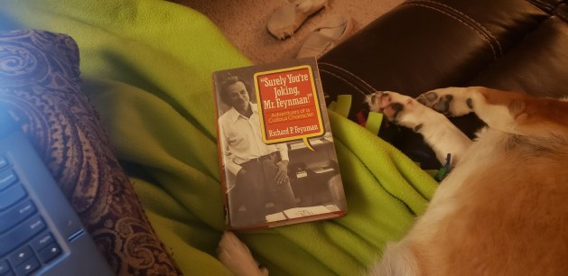 Surely You're Joking, Mr. Feynman book cover on the couch.