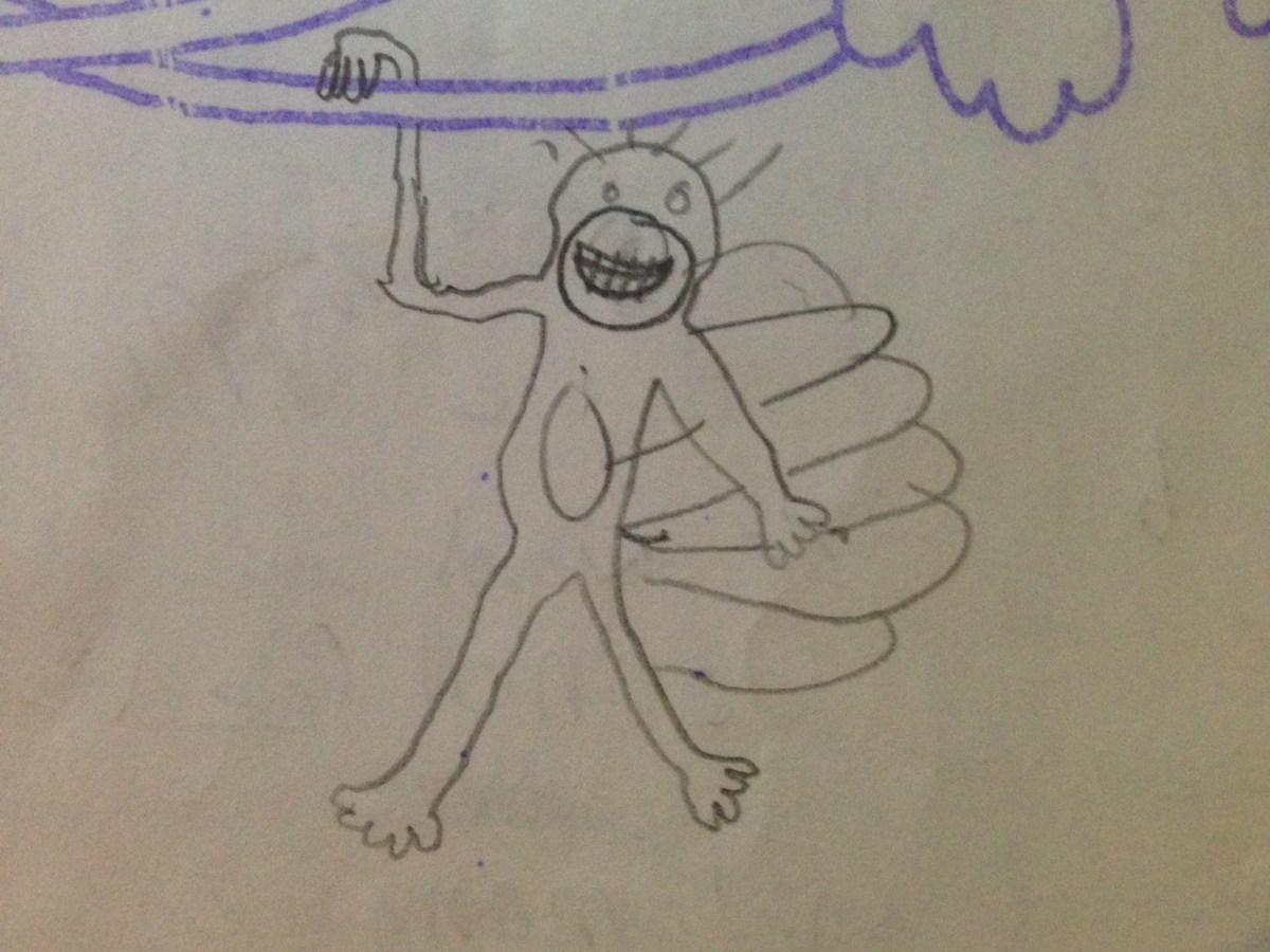 A Monkey with tail feathers like a Turkey