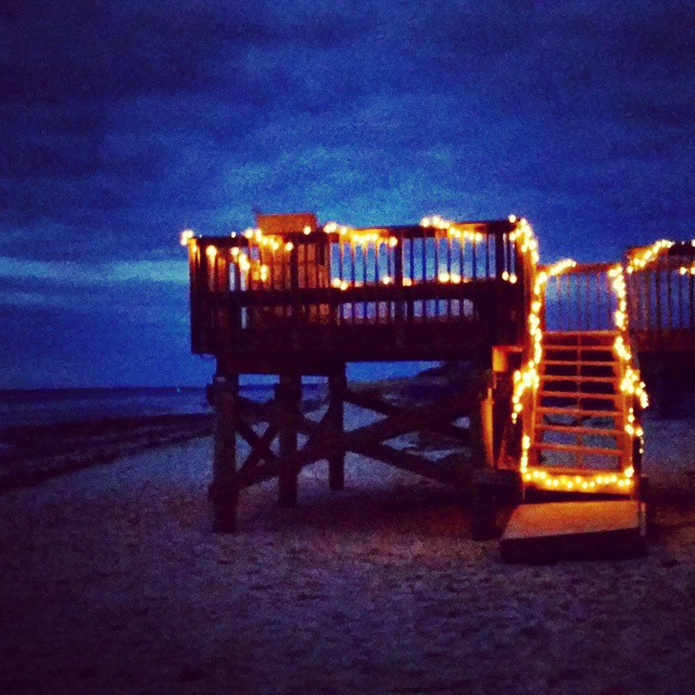 Cape Cod Deck at #Sunset, #capecod #twinkle #lights #bay #seashore