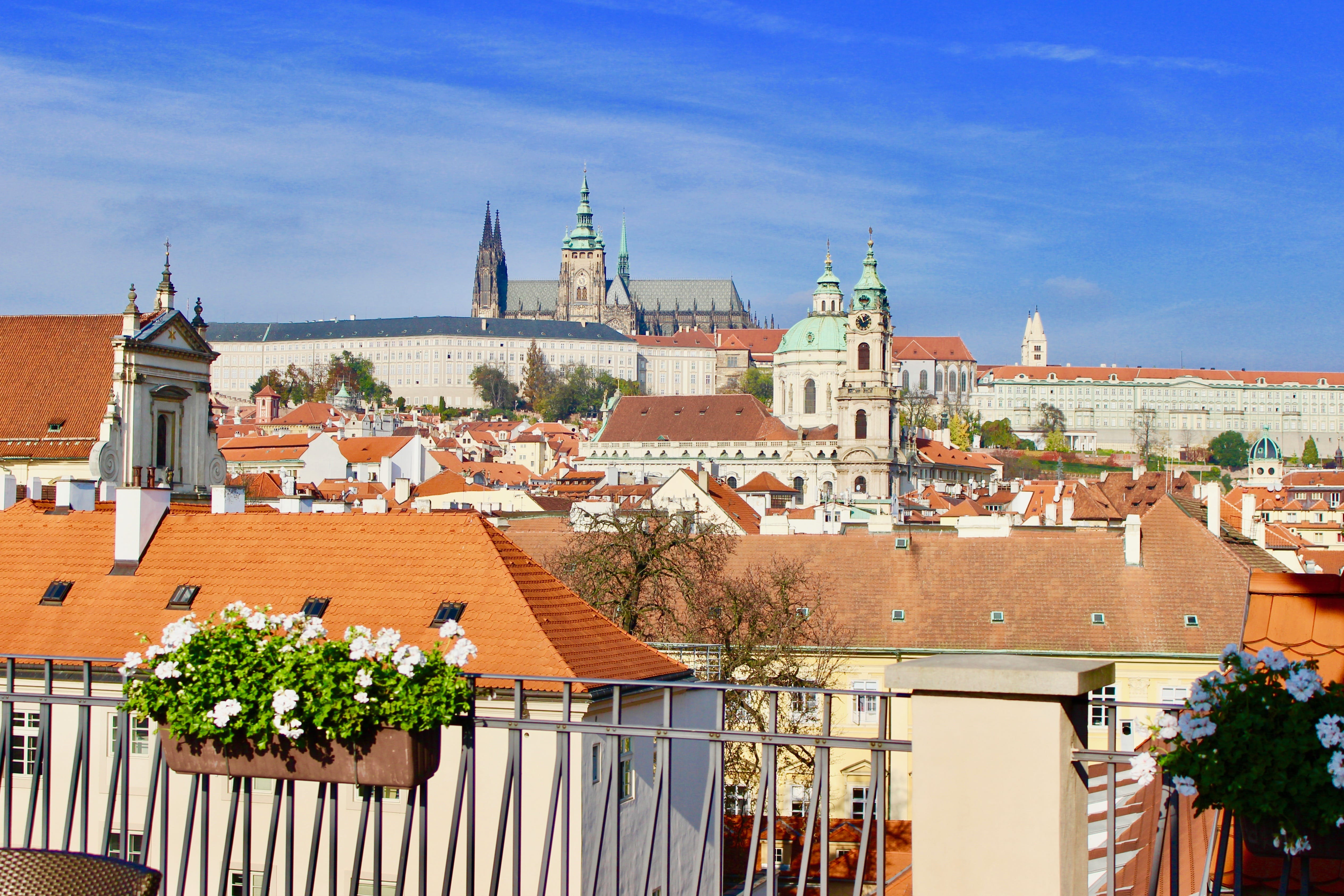 View of the Prague Castle from the Mandarin oriental in Prague