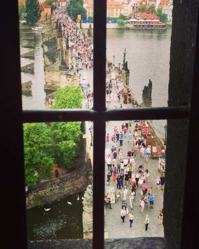 View of the Charles Bridge in Prague from the Tower