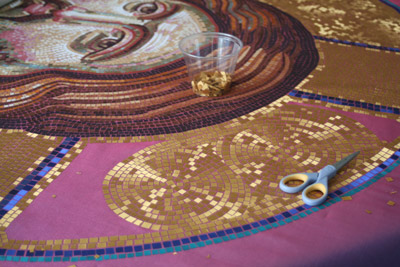 Christ Pantocrator banner (2011) - detail of work on Christ's nimbus (halo) by Michelle L Hofer