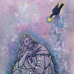 Abstract acrylic painting by Michelle L Hofer featuring the prophet Elijah and a raven bringing him bread.