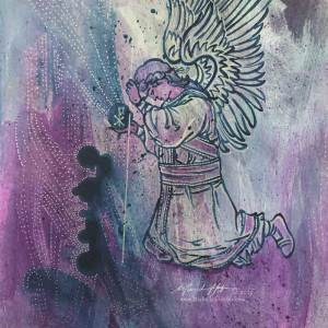 Abstract acrylic painting by Michelle L Hofer featuring a kneeling angel of the Lord.