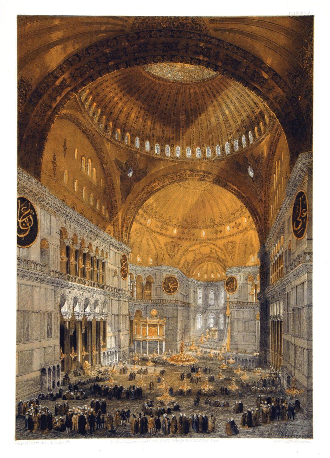 Hagia Sophia, Istanbul, Turkey - interior (1852) by Gaspare Fossati.
