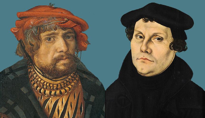 Lucas Cranach the Elder, The Holy Kinship (1509)/Portrait of Martin Luther (1528) both by Lucas Cranach the Elder.
