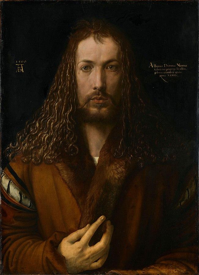 Self-Portrait at Twenty-Eight Years Old Wearing a Coat with Fur Collar (1500) by Albrecht Dürer