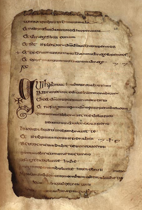 The Psalter of Columcille or the Cathach of St. Columba (folio 48r), 6th century Irish