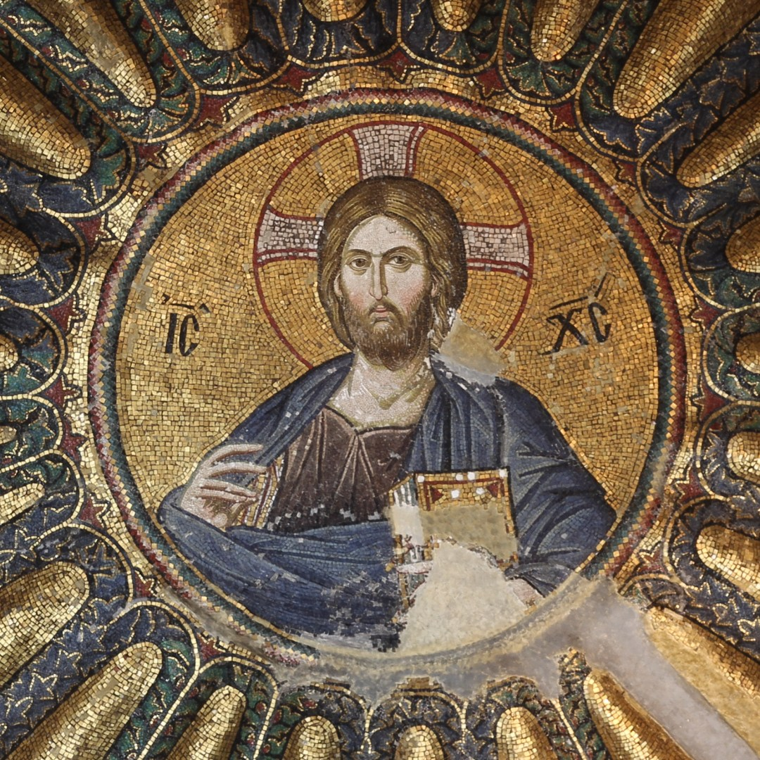 Mosaic of Christ Pantocrator, south dome of inner narthex at Chora Church (prior to 1320), Istanbul, Turkey.